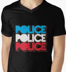 Retro 70s Police Vintage Red White Blue Graphic Men's V-Neck T-Shirt