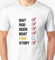 Bait Rod Beer Boat Fish Story Unisex T-Shirt
