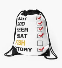 Bait Rod Beer Boat Fish Story Drawstring Bag