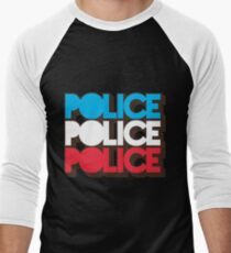 Police Vintage Red White Blue Retro 70s Graphic Men's Baseball ¾ T-Shirt