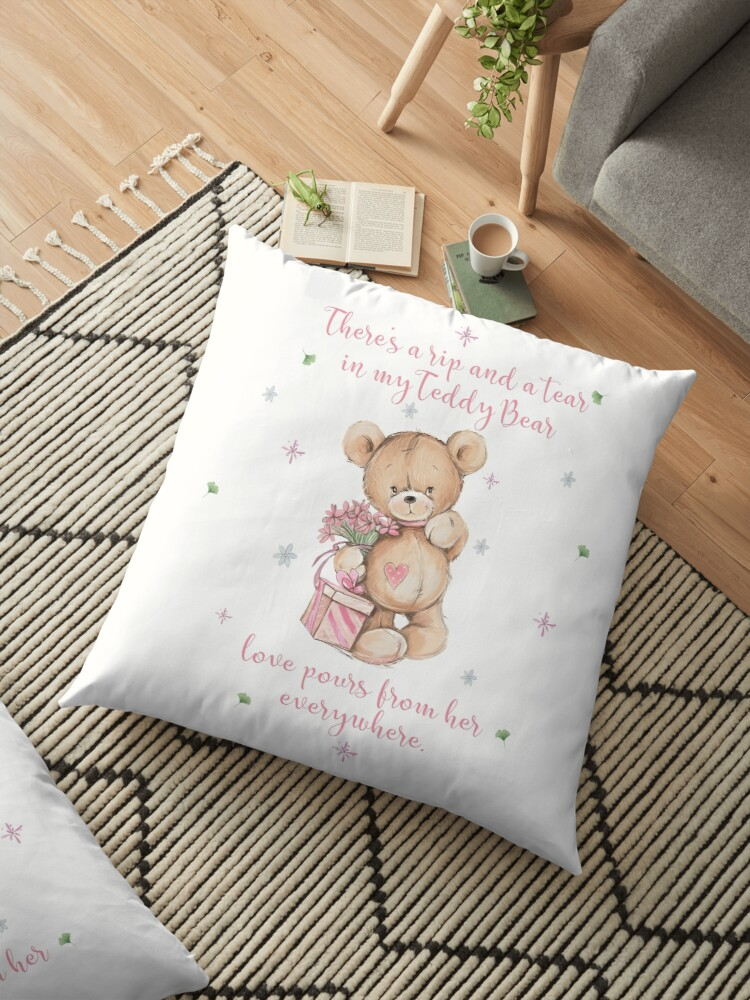 Sweet Watercolor Pink and Tan Teddy Bear by ReefCoast