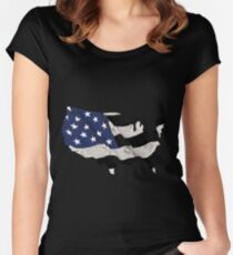 USA Police America Map Flag Thin Blue Line Safe Women's Fitted Scoop T-Shirt