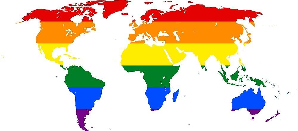 Rainbow LGBTQ World Map  by PRODUCTPICS