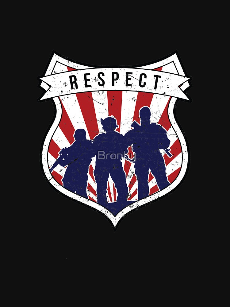 Respect Badge Retro Police Armed Team Protect by Bronby