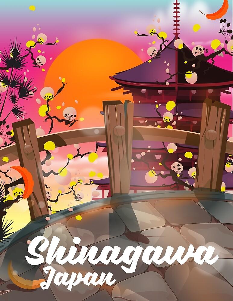 Shinagawa Japan travel poster by vectorwebstore