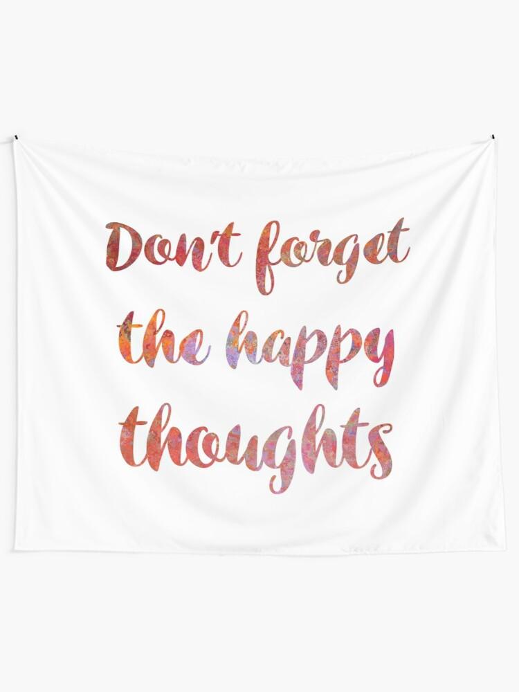 4ed4d994 Inspirational quote - Happy Thoughts - Cute Girly Handwritten Watercolor  Text Wall Tapestry