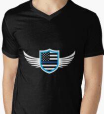 Police Wings Angel Thin Blue Line Protect Serve Men's V-Neck T-Shirt
