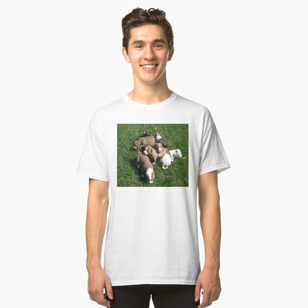 Puppies Playing Outdoors Classic T-Shirt Front