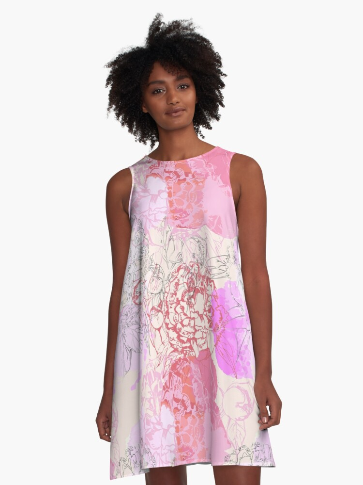 Pink seamless pattern with peonies. A-Line Dress Front
