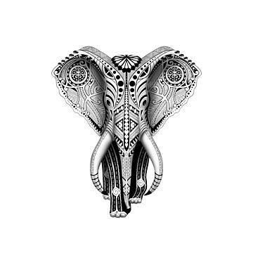 Ivory Maori Tribal Elephant by Efembe
