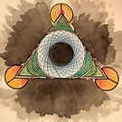Abstract watercolor triangle circle design by cocodesigns