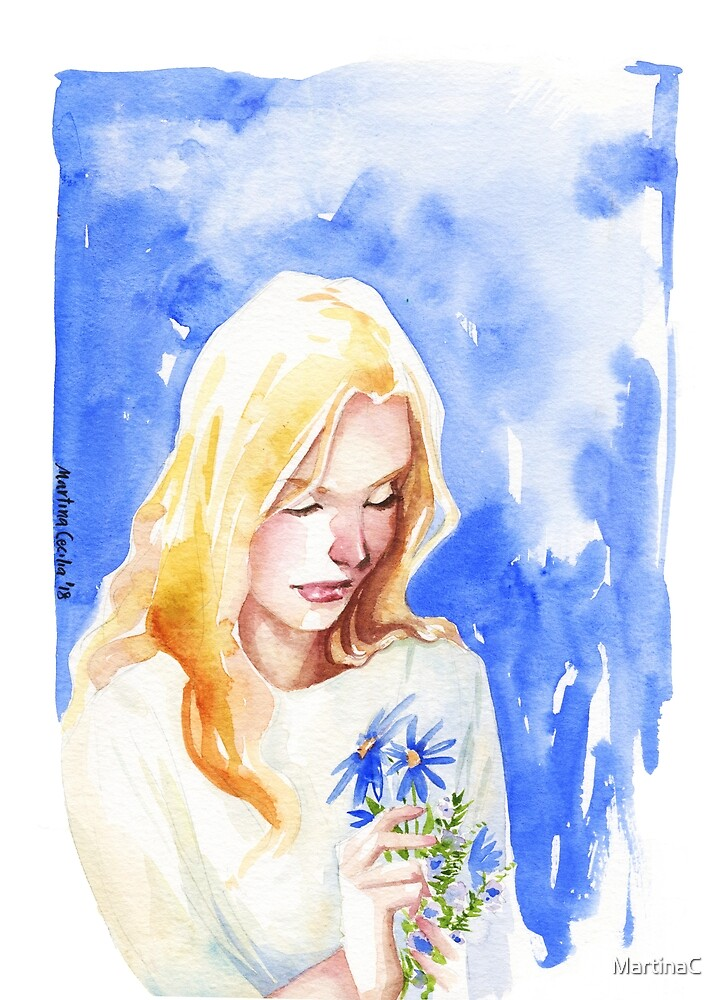 ophelia - watercolor portrait by MartinaC