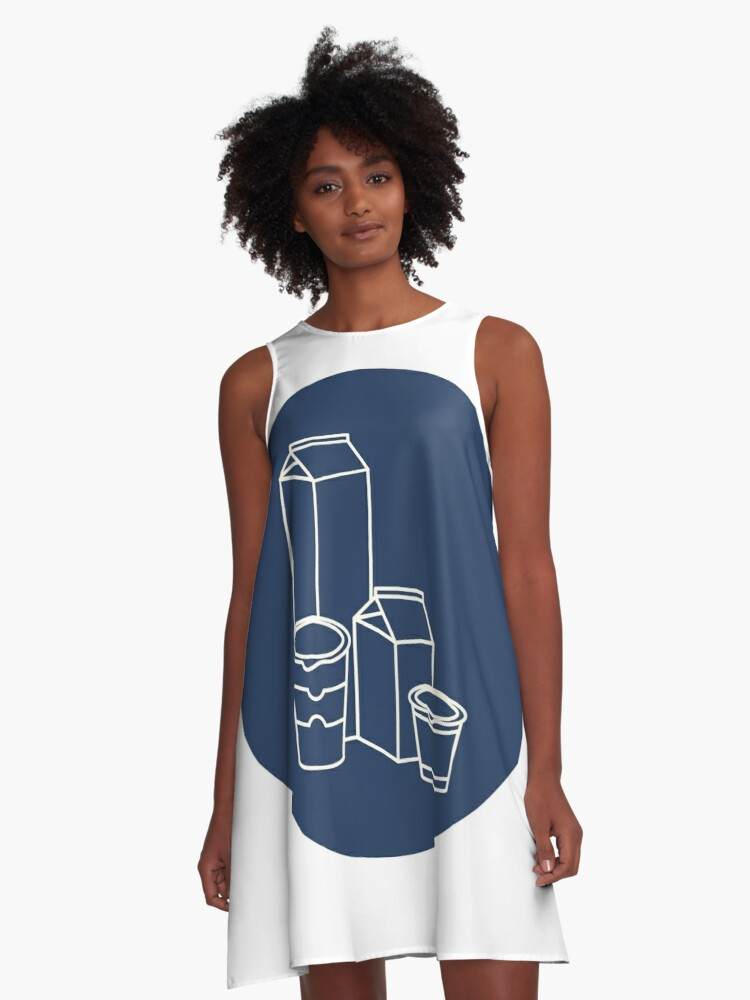 Different dairy products. A-Line Dress Front