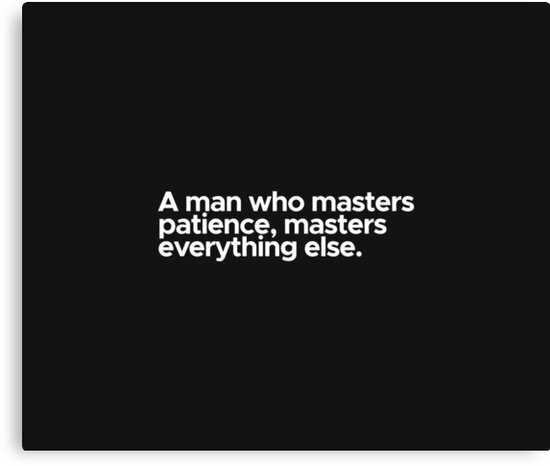 Motivational / inspirational quote - A man who masters patience, masters everything else by 47T-Shirts