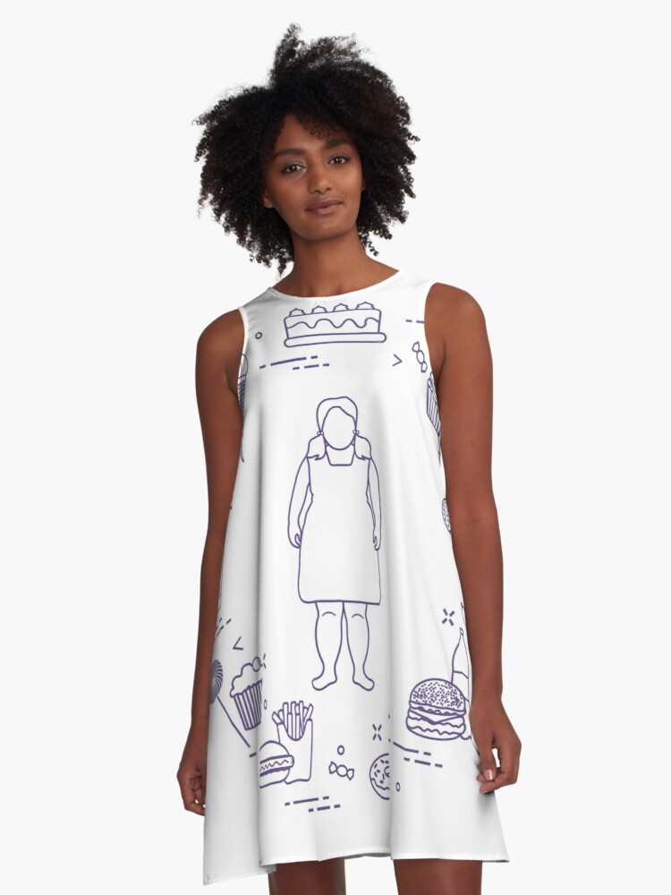 Harmful eating habits and fat girl. A-Line Dress Front