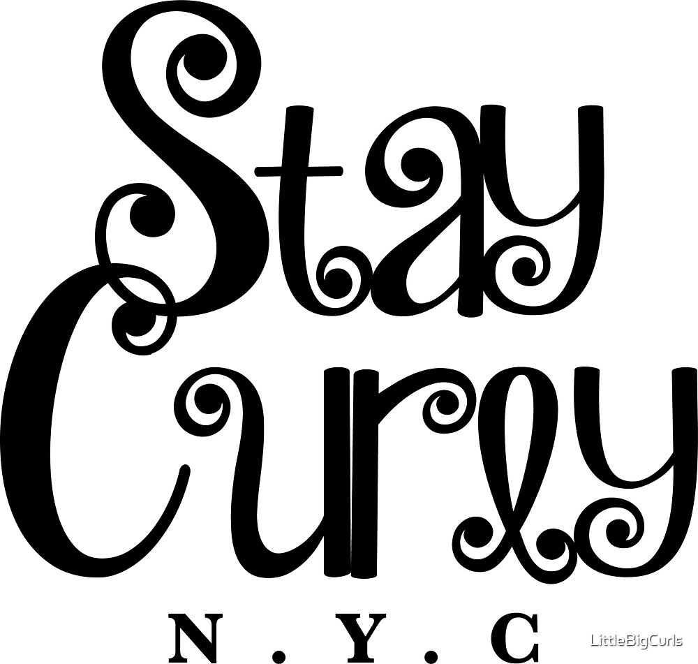 Stay Curly NYC - White (Black Lettering) by LittleBigCurls