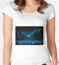 Owl Hunt Nature Deep Blue Women's Fitted Scoop T-Shirt