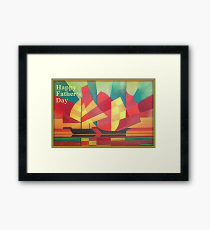 Happy Father's Day Cubist Abstract of Junk Sails and Ocean Skies Framed Print