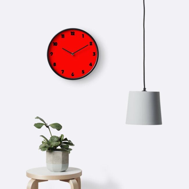 Black Fat Numbers On Red Wall Clock by trinketanthing