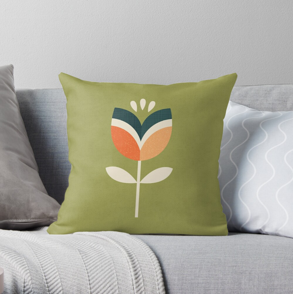 Retro Tulip - Orange and Olive Green Throw Pillow