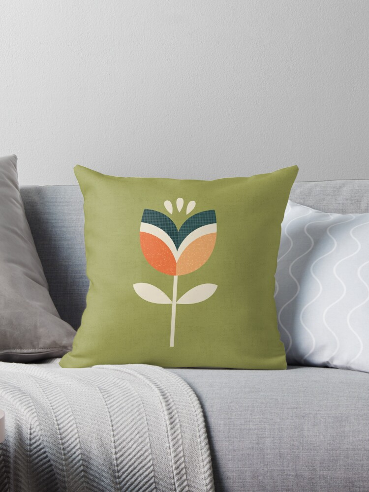 Retro Tulip - Orange and Olive Green by daisy-beatrice