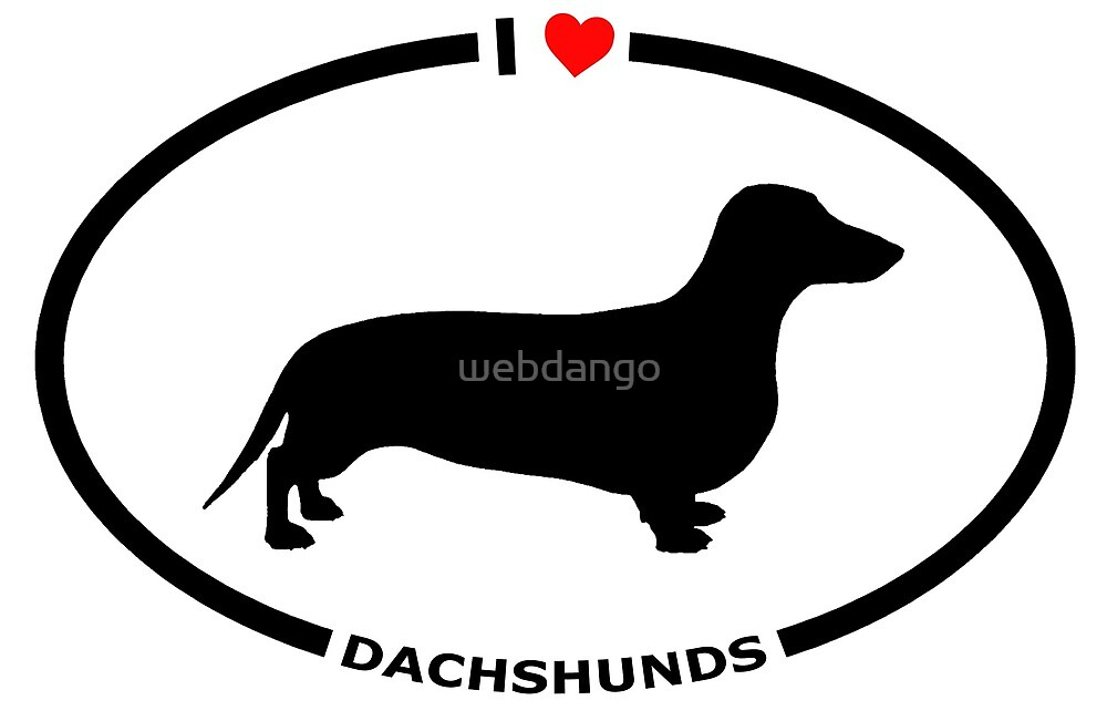 I Heart Dachshunds T-Shirt for Dog Lovers by webdango