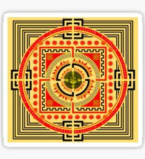 MANDALA, Square, yellow, red, black Sticker