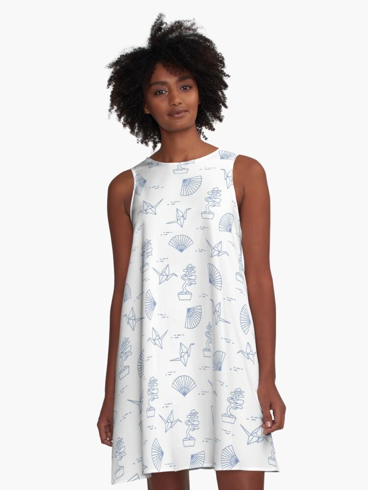 Pattern. Bonsai trees, origami cranes, fans. A-Line Dress Front