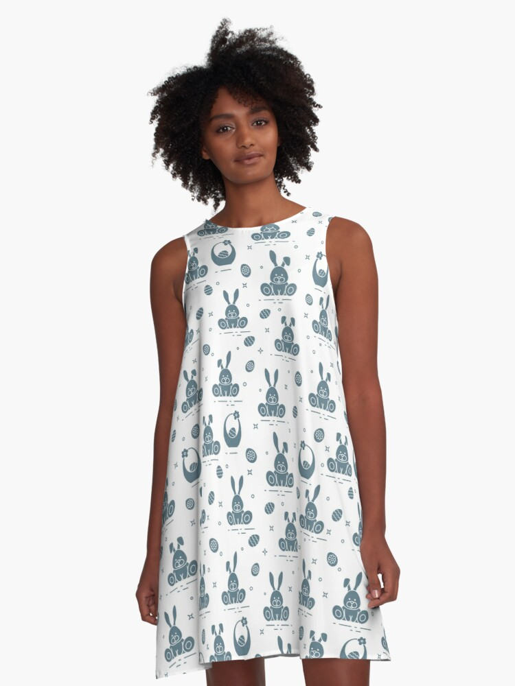 Pattern with Easter rabbits, eggs, baskets. A-Line Dress Front