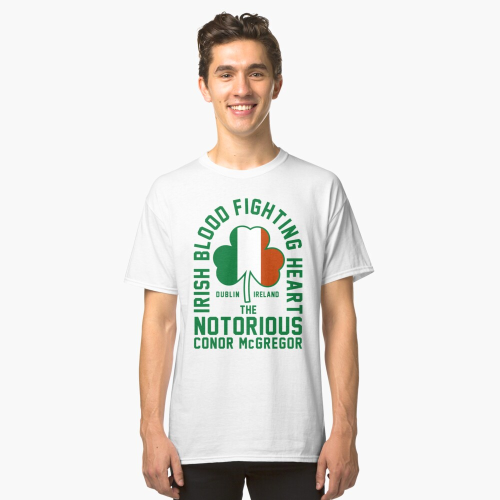 Conor McGregor - Irish Blood Fighting Heart Classic T-Shirt Front