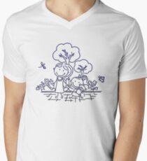 Cartoon Blue Men's V-Neck T-Shirt