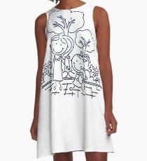 Cartoon Blue A-Line Dress