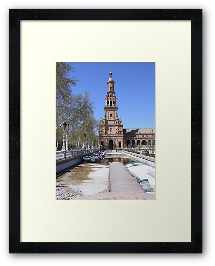 Bell tower at Plaza de Espana, Seville, Spain by Seller2018KF