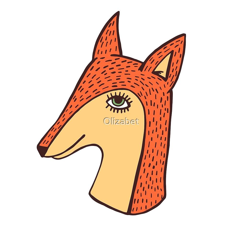 Fox on blue by Olizabet