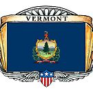 Vermont Art Deco Design with Flag by Cleave