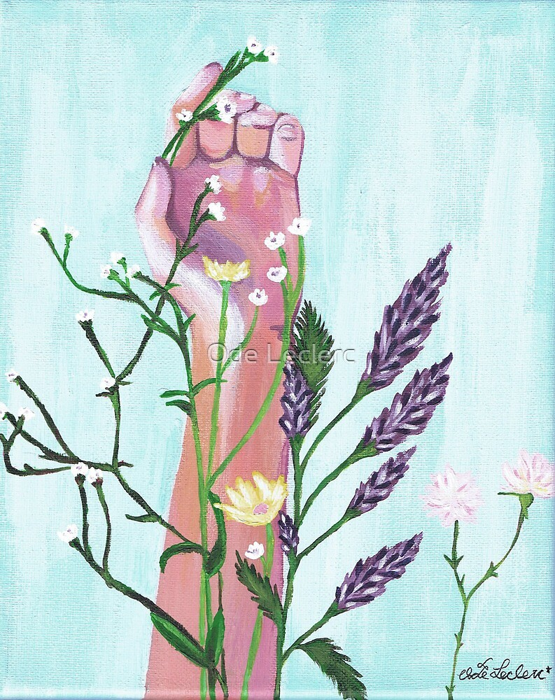 hand and flowers by Ode Leclerc