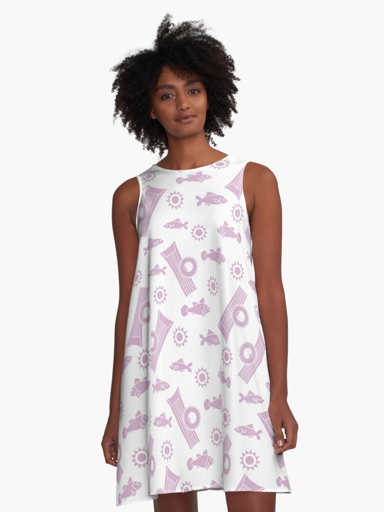 Pattern with fish, sun, inflatable mattress. A-Line Dress Front
