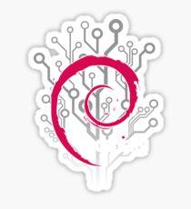 Debian Linux Distro Logo on a Digital Background Sticker