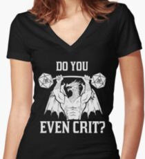 Ancient Swole'd Dragon - Do You Even Crit? Women's Fitted V-Neck T-Shirt