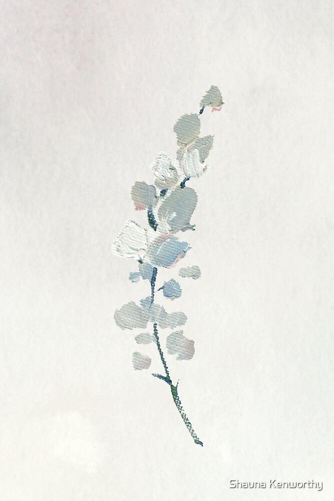 Cream watercolor flowers on cream background by Shauna Kenworthy