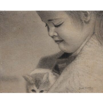 Girl playing with cat by artyzoneindia