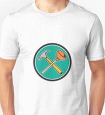 Crossed Hammer Plunger Circle Cartoon Unisex T-Shirt