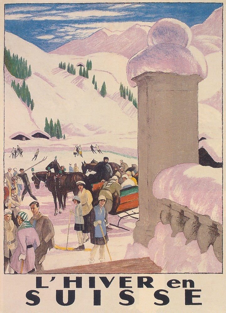 Winter in Switzerland Vintage Travel Poster by vintagevivian