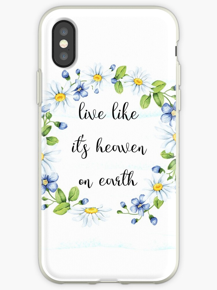 Inspirational Quote - Live like its heaven on earth - Cute Pastel Girly typography by IN3PIRED