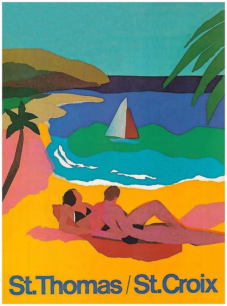 St. Thomas, St. Croix, Beach Print, Colorful Vintage Travel Poster by vintagevivian