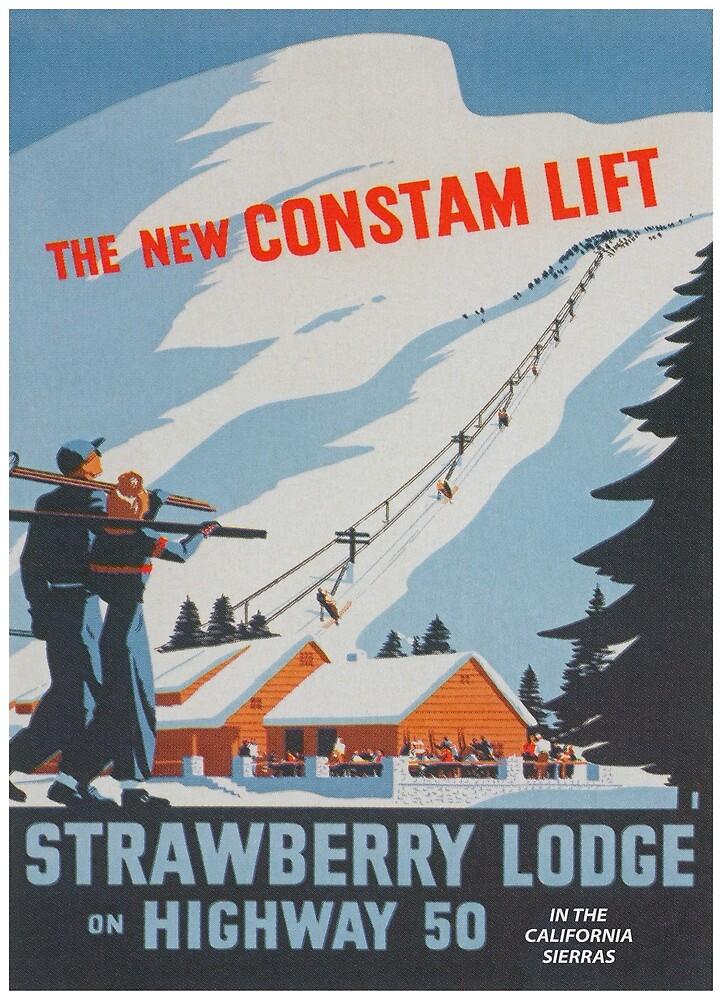 Strawberry Lodge, Constam Ski Lift, California, Vintage Ski Travel Poster by vintagevivian