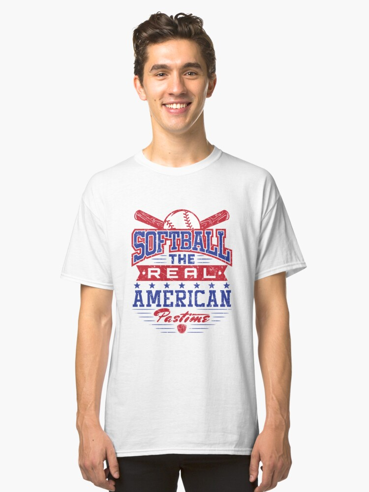 Patriotic Softball 4th Of July Distressed Gifts  Classic T-Shirt Front