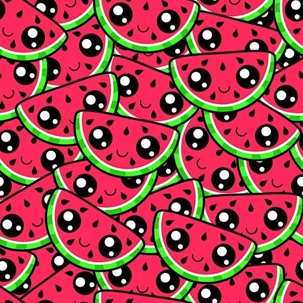Kawaii Watermelon pattern by adelesart
