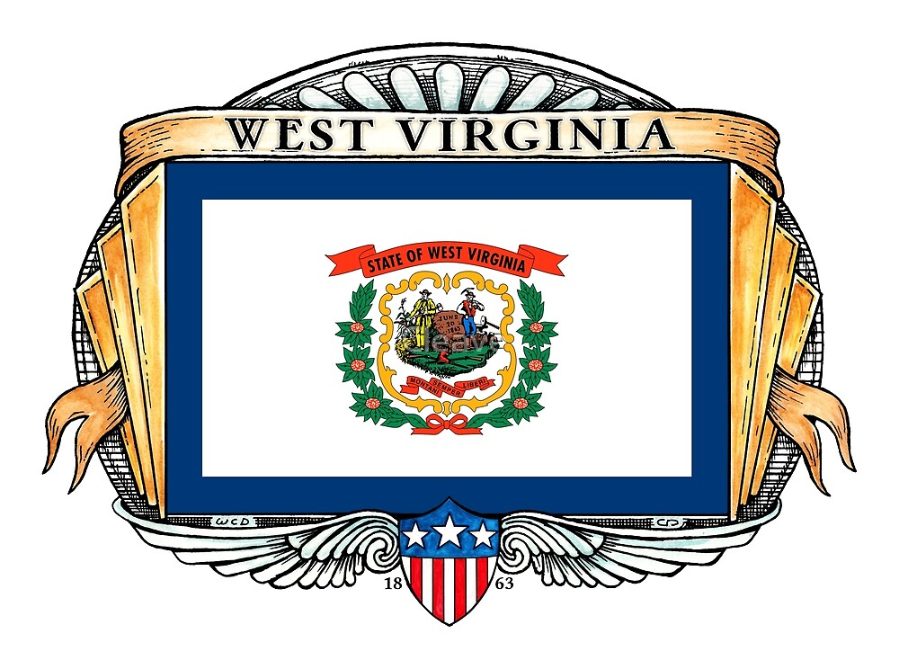 West Virginia Art Deco Design with Flag by Cleave