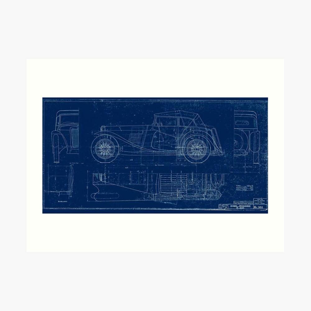 MG TC Blueprint Diagram Art Print